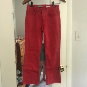 Anthropologie Pilcro Script Red Frayed Flare Jeans